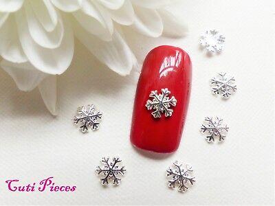 10pc 3d Nail Art Silver Christmas Snowflake Small 3d Alloy Metal Spangle Tip Sf5 Varios Estilos