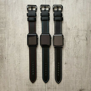 For Apple Watch Series 5 4 3 42 44mm Black Leather Carbon Grain Strap Wrist Band Ebay