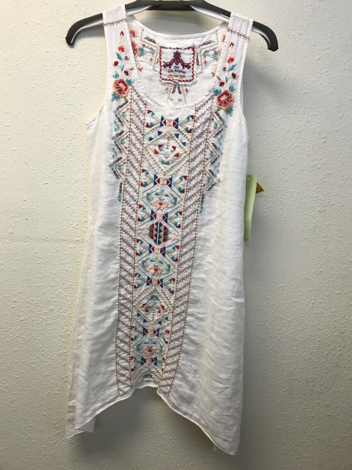 NWT Johnny Was Embroidered GEO White Linen Tunic Dress S Embroidered Sleeveless