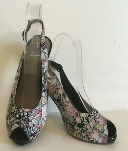 new high low priced no sale tax Details about TAMARIS Floral Fabric Peep Toe Shoes Womens UK 3.5