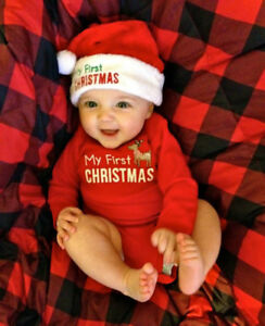 d0d80c741 MY First Christmas Baby Boy Girl Romper Bodysuit Jumpsuit Clothes ...