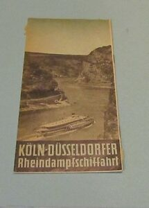 1955 Rhine Riverboat Timetables Cologne to Dusseldorf Germany Travel Souvenir