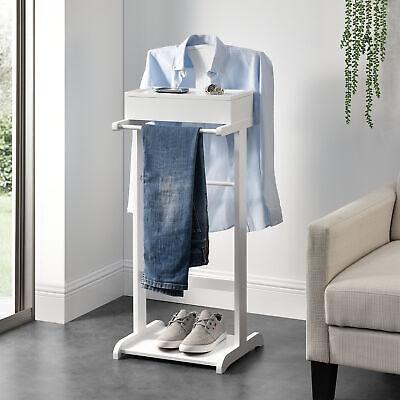 Herrendiener 107 x 45 x 45 cm Kleiderst/änder Freistehend Stummer Diener mit Kleiderb/ügel Hosenhalter Ablage Metallgestell Dunkelgrau en.casa