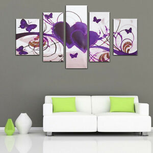 5pcs painting purple love heart wall art canvas abstract home decor