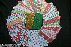 CHRISTMAS-2-30-Designs-6x6-Paper-Pack-RED-GREEN-GOLD-WHITE-Mix-2-sml-Glitter