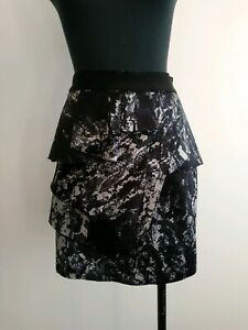 Portmans-black-Blue-Peplum-Skirt-high-waisted-AU-6-XS