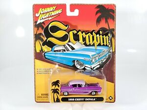 Johnny-Lightning-034-Scrapin-034-1958-Chevy-Impala-Low-Rider-Purple-1-64-NEW-NOC