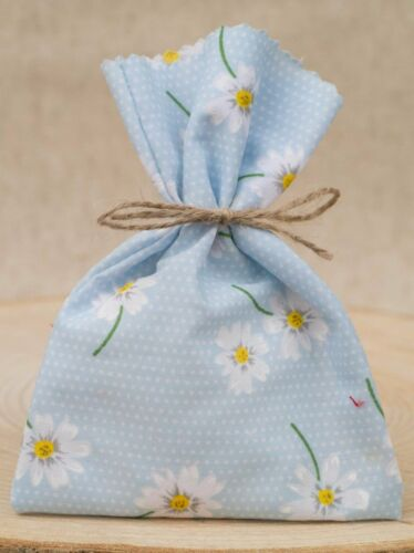 Blue Daisy Baby Shower Wedding Favour Bag Personalised Shabby Chic Favours 1-100