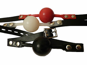3-Locking-silicone-ball-gags-Red-Black-amp-White-FREE-UK-DELIVERY