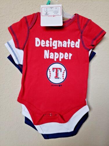 6-9M 0-3M BABY BOY/'S TEXAS RANGERS 3-PC BODYSUITS SET- OFFICIAL *NWT- MLB