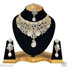 Gold Plated Handmade Party wear Kundan Zerconic Designer Exclusive Necklace Set