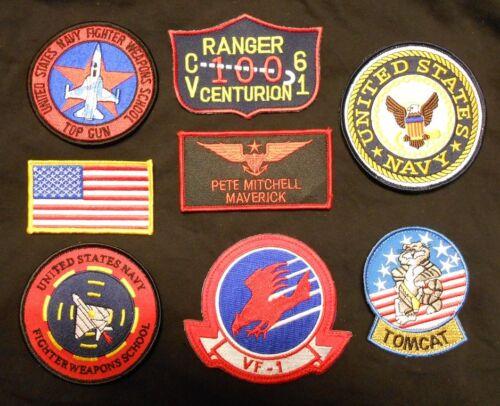 TOP GUN MAVERICK PETE MITCHELL US NAVY NAME TAG FLIGHT JACKET IRON 8 PATCH SET