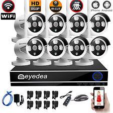 Eyedea 8 CH 5500TVL 960P Wireless WIFI PoE NVR Home CCTV Security Cameras System