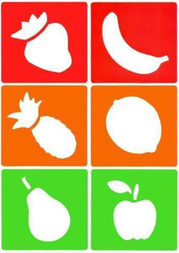 Major Brushes Flexible Reusable Stencils Set of 6 Fruit Designs 4005-6