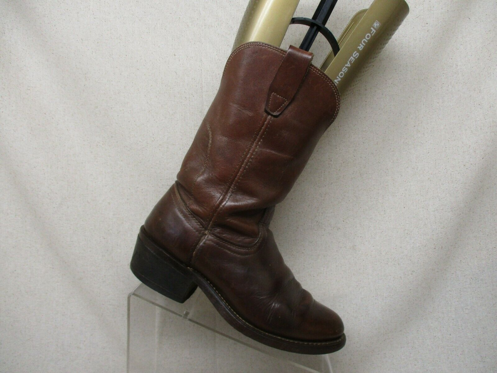 Brown All Leather Pull On Cowboy Western Boots Mens Size 6 D Style 5070