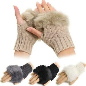 Womens-Fingerless-Gloves-Winter-Arm-Warmer-Soft-Knitted-Fur-Trim-Mittens