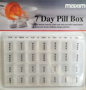 Weekly One Week 7 Day Pill Box Tablet Organiser Clear Case Holder