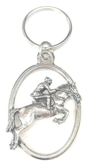 Jocky Show Jumping Horse Handcrafted from Solid English Pewter In the UK KeyRing
