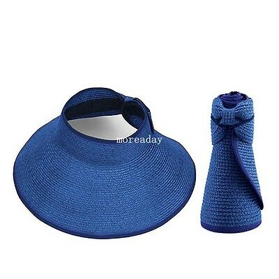Ladies Women Summer Sun Beach Foldable Roll Up Wide Brim Straw Visor Hat Cap