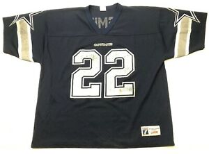 low priced ba261 8714f Details about VINTAGE LOGO 7 NFL DALLAS COWBOYS #22 EMMITT SMITH JERSEY SZ  L HALL OF FAMER