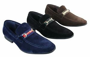 mens suede shoes buckle slip on loafers smart casual navy
