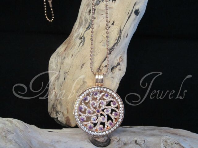GENUINE STERLINA MI MILANO NECKLACE/PENDANT CRYSTAL COIN/MONEDA ROSE GOLD AJMM