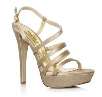 Nine West Uk 8 Armcandy2 Champagne Satin High Heel Shoes Rrp £110.00