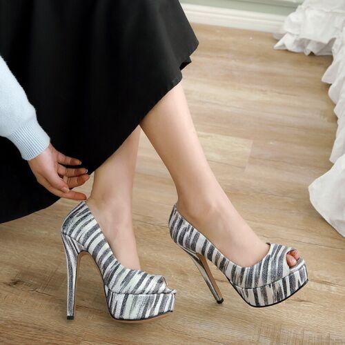 Details about  /14 CM Stilettos High Heel Open Toe Women Summer Sandals Cocktail Banquet 42//43 D