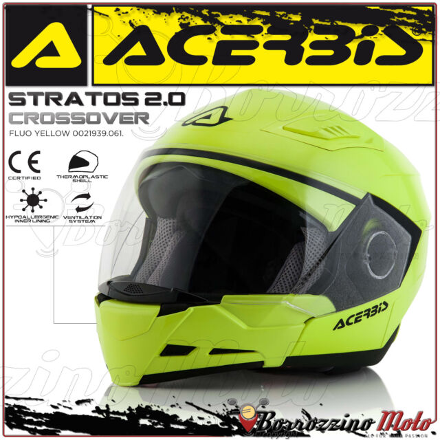 CASQUE ACERBIS STRATOS 2.0 CROSSOVER INTEGRAL/JET JAUNE MOTO SCOOTER TAILLE XL