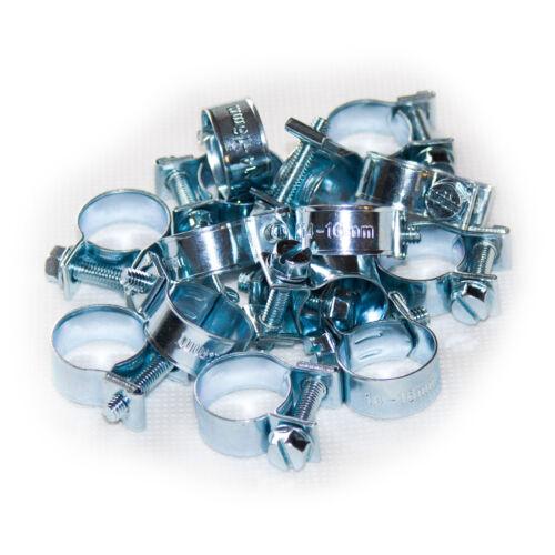 Mini Schlauchschellen 14-16mm 15 Stück Set W1 Stahl verzinkt Spannbackenschellen