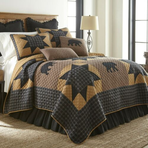 Donna Sharp Black Bear Paw Star Quilted Rustic Lodge Country Queen Quilt /& Throw