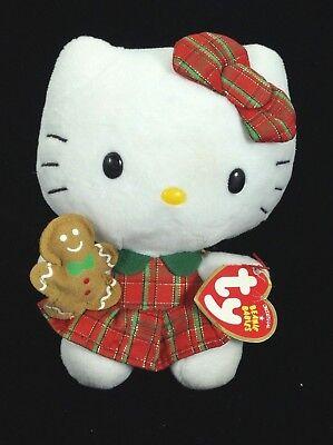 Plaid Christmas Dress 6 Inch NEW MWMT Ty Beanie Baby ~ HELLO KITTY