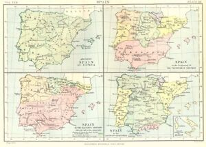 Map Of Spain Old.Details About Spain Hispania 1200 11c 14c 15c Italian Possessions Of Aragon 1898 Old Map