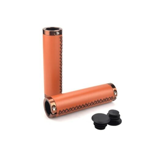 PU Leather Mountain Bike Bicycle Cycling Lockable Hand Sewing Handle Grips