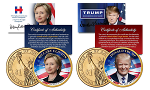 Donald-TRUMP-amp-Hillary-CLINTON-2016-Presidential-Golden-1-Dollar-US-2-Coin-Set
