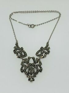 Gorgeous Vintage Marcasite Links Belcher Chain Necklace 925 Solid Silver #12745