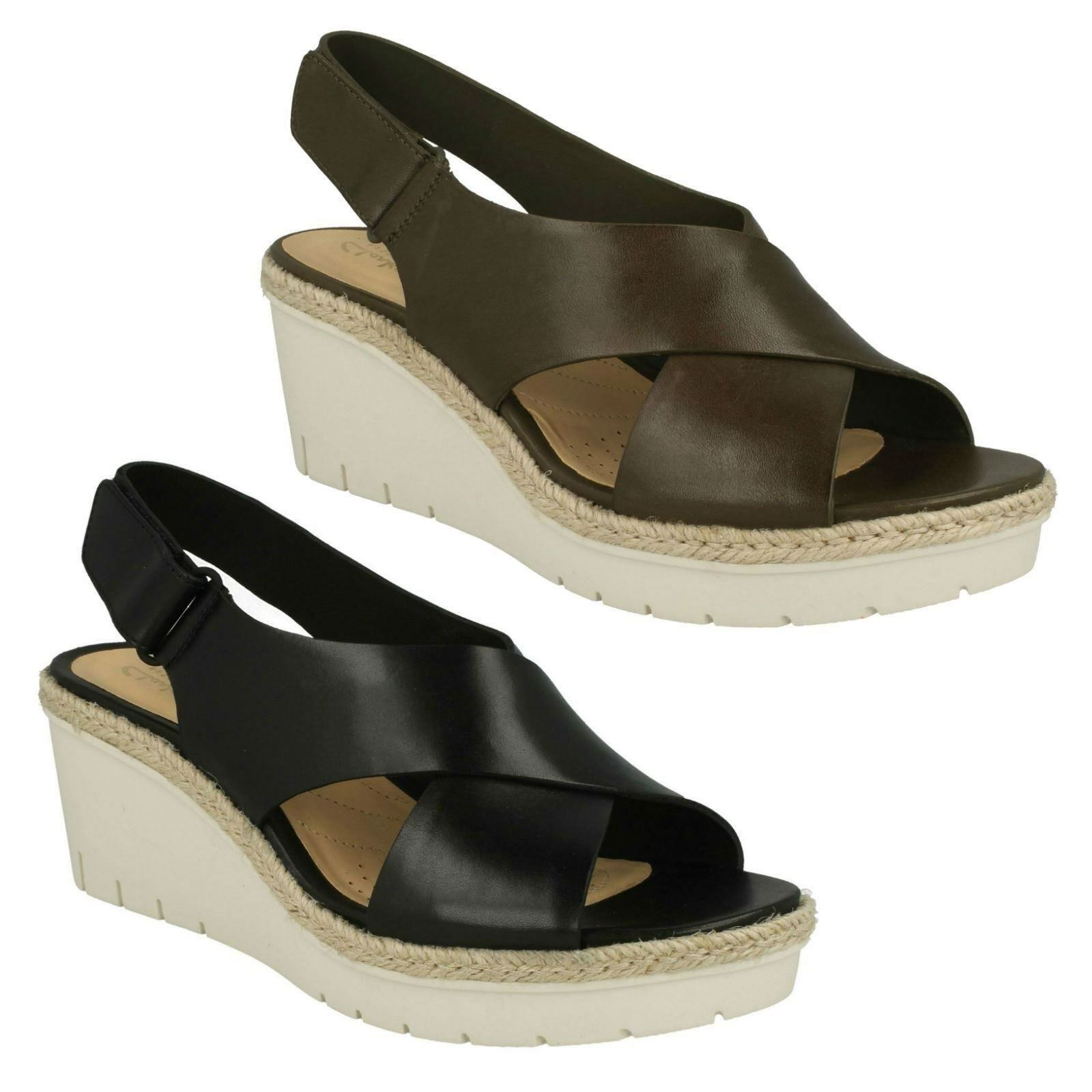 Último gran descuento LADIES CLARKS LEATHER WEDGE HEEL SLINGBACK SMART SUMMER SANDALS SHOES PALM GLOW