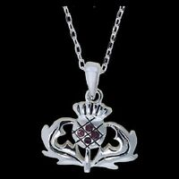 Celtic Pewter Scottish Thistle Cz Necklace With 18 Inch Chain