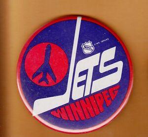 1970 S Winnipeg Jets Old Logo 3 1 2 Inch Pin Back Button Unsold Stock Ebay