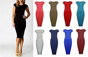 Women-Ladies-Plain-Jersey-Stretch-Crew-Neck-Bodycon-Cap-Sleeve-Midi-Dress-8-26