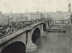 London-Bridge-Looking-North-1895-Antique-Victorian-Print-Picture-RTW-01