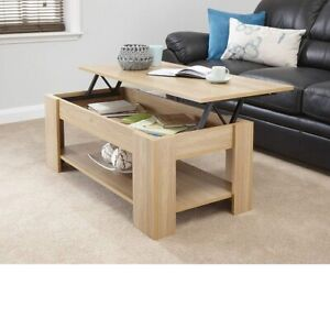 Modern Wooden Lift Up Top Coffee Table Storage Living Room