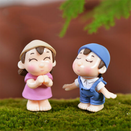 Couple Figurines Fairy Garden Gnome Moss Terrariums Resin Crafts Decoration~Nice