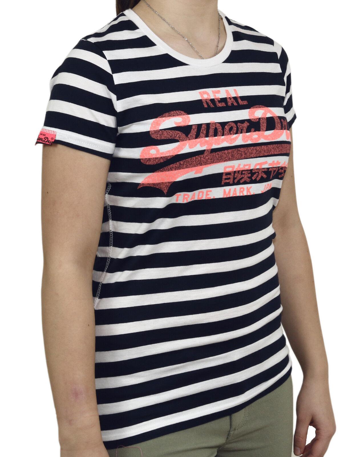Superdry Vint.Logo Stripe G10023XO JKC navy - Shirt - Women dunkelblue white+Neu+