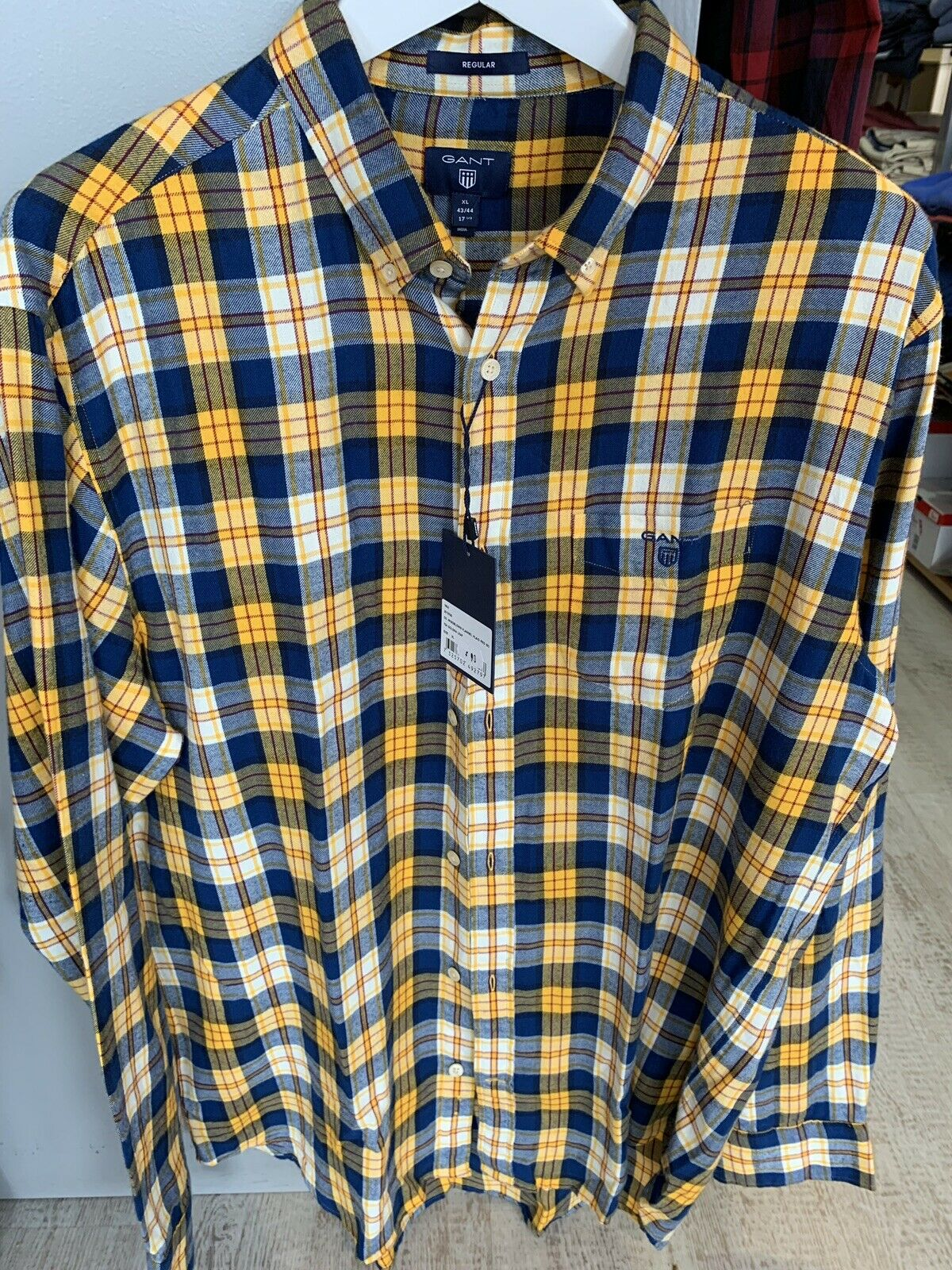 Gant Mens Windblown flannel Plaid Shirt Regular