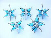 5 Stained Glass Moravian Style Lite Blue Sun Catcher Handmade Ornament