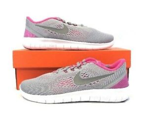 Nike-Free-RN-GS-833993-001-Wolf-Grey-Pink-White-Youth-Girl-039-s-Running-Shoes