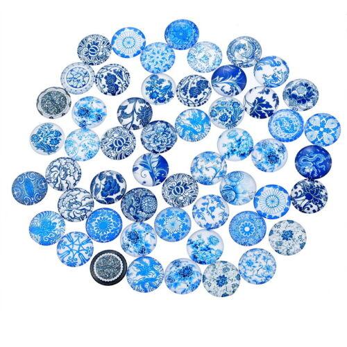 10 Blues Random Mixed Design Round Glass Cabochons Jewellery Making 12mm 032