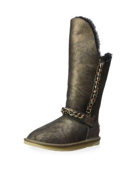 Australia Luxe Collective Maverick Sheepskin Fur Black Gold Chain Boot *6 (7?
