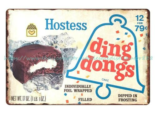 metal art 1967 Hostess Ding Dongs America/'s Favorite Snack Cakes metal tin sign